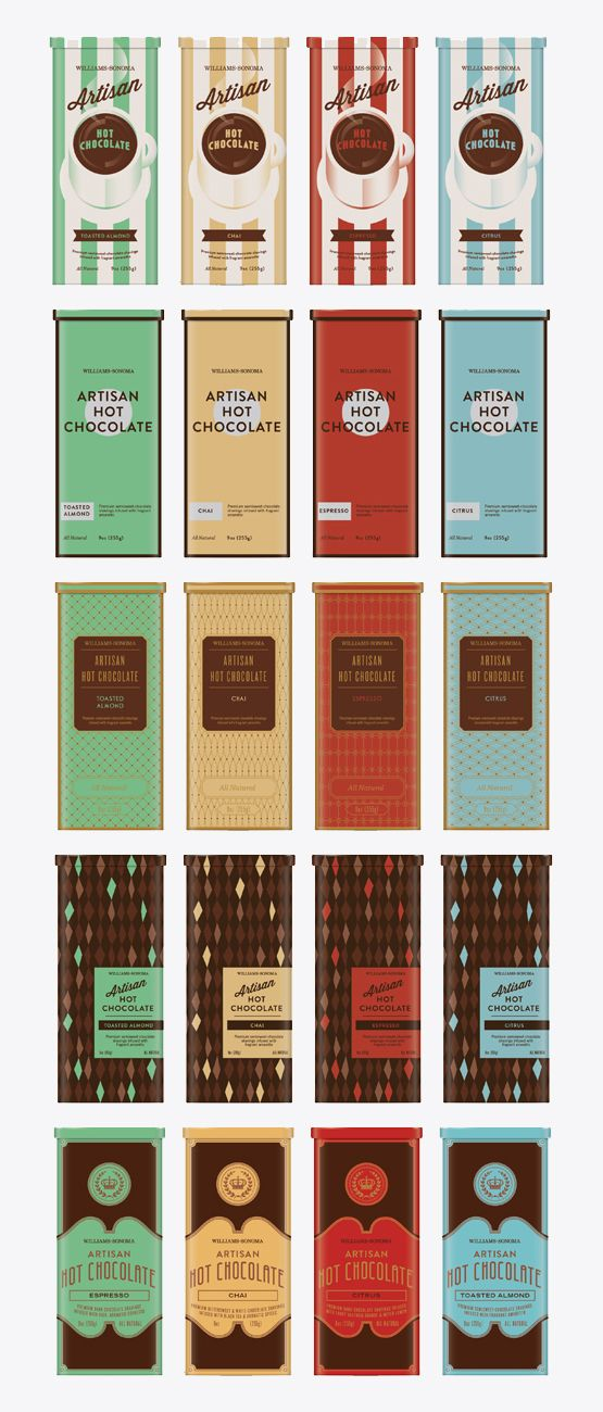 Lab Partners #chocolate #packaging.  The patterns, colors, and placement all work really well together. There is an individual balance as well as an uniformed balance.