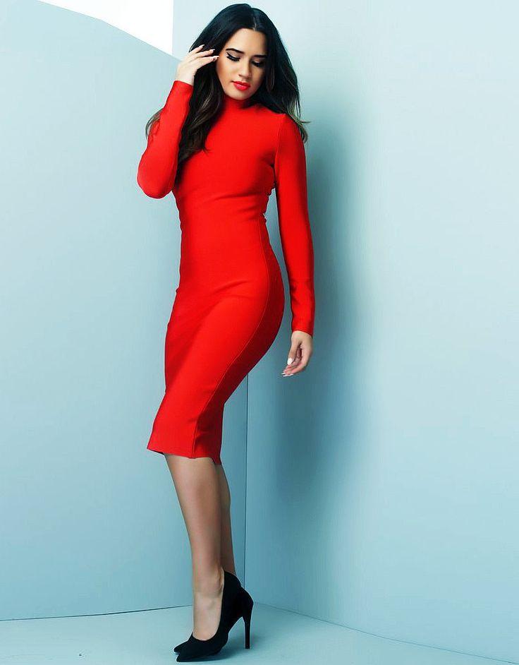 Long Sleeve High Neck Midi Bandage Dress Red - Bandage Dresses and Celebrity Inspired Fashion