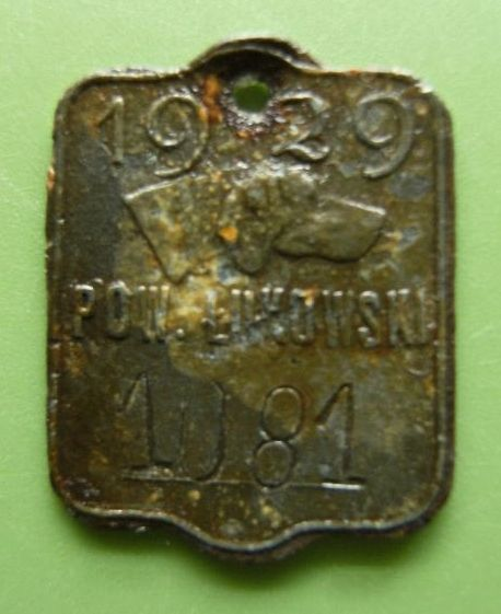 Psi identyfikator z 1929 r. Pow. Łukowski Wybity numer 1081