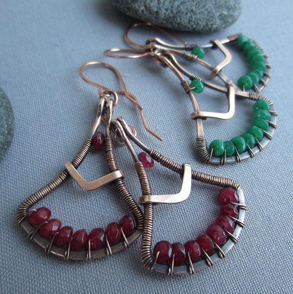 SALE 20%OFF/Copper Wire Earrings w. Ruby Red Jade/ Wire Wrapped Earrings/ Ruby Red Jade Earrings/ Artisan Earrings