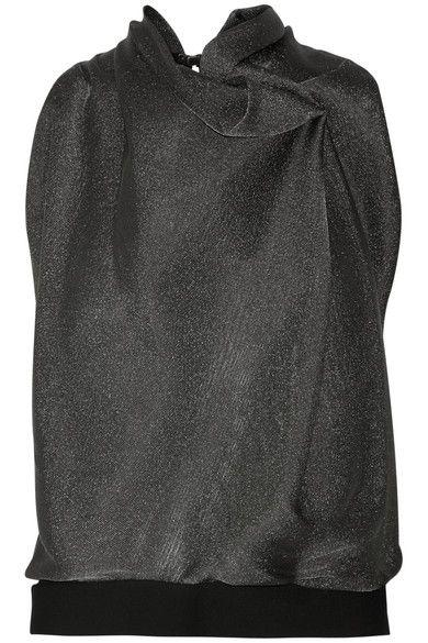 Roland Mouret   Nepthea crepe-paneled metallic woven top   NET-A-PORTER.COM
