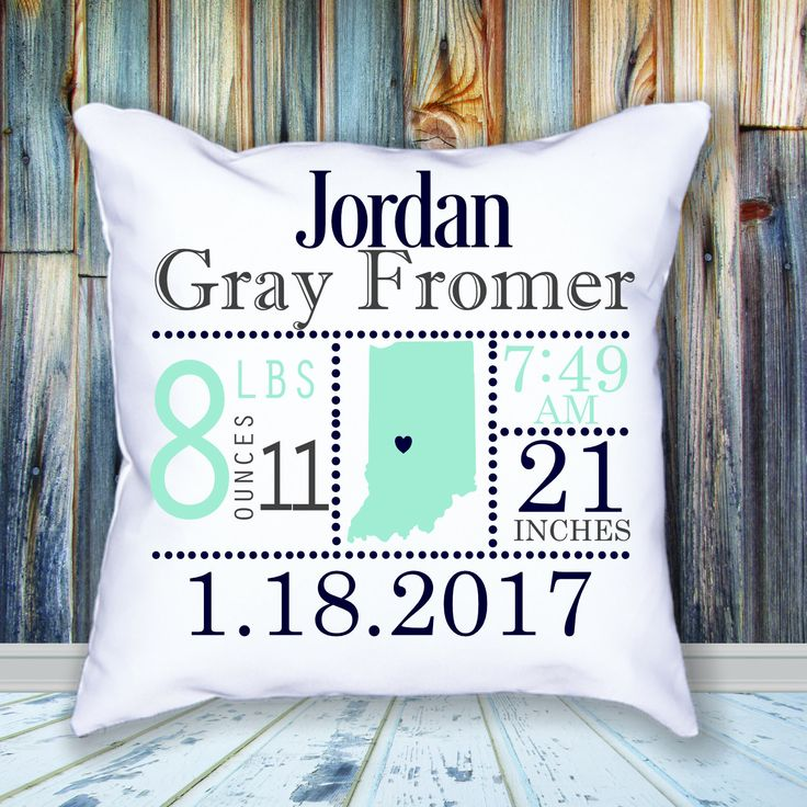 Birth Announcement Pillow / Personalized / Navy Blue / Mint Green / Gray / Birth State by JamminThread on Etsy