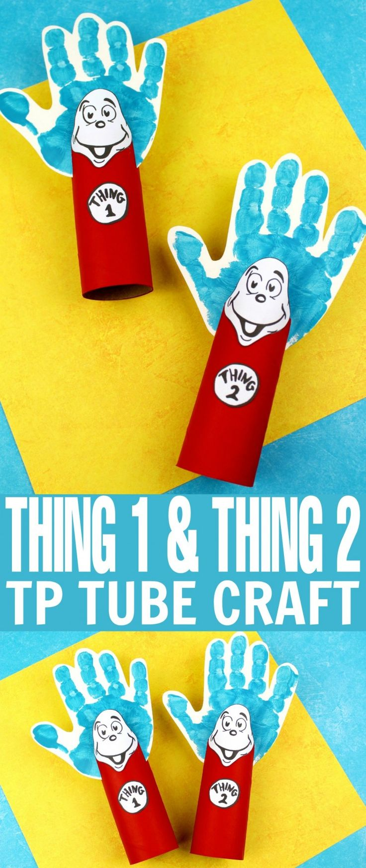 This Thing 1 and Thing 2 Toilet Paper Tube Craft is a fun kids craft that ties in really well with The Cat in the Hat. It's a perfect craft for Dr. Seuss day which is coming up on the March 2nd!