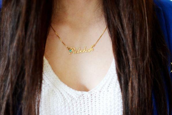 750 vergoldete Silber Namenskette mit Swarovski Kristall €59.90