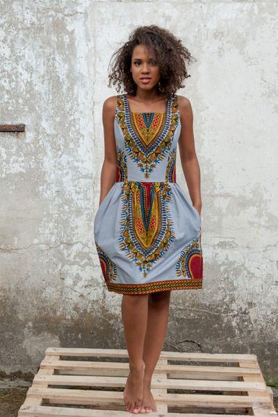 Afrikanisch Kleid Addis Abeba - Silver von KOKOworld auf DaWanda.com