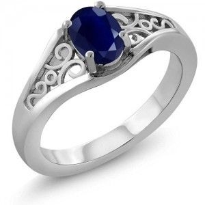 9. 1.02 Ct Oval Genuine Blue Sapphire 925 Sterling Silver Women's Ring