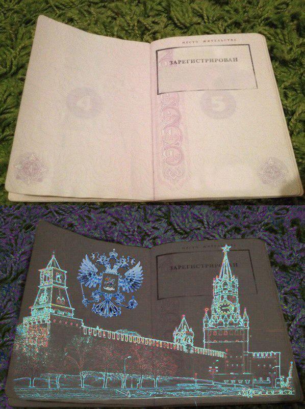 Российский паспорт в ультрафиолете