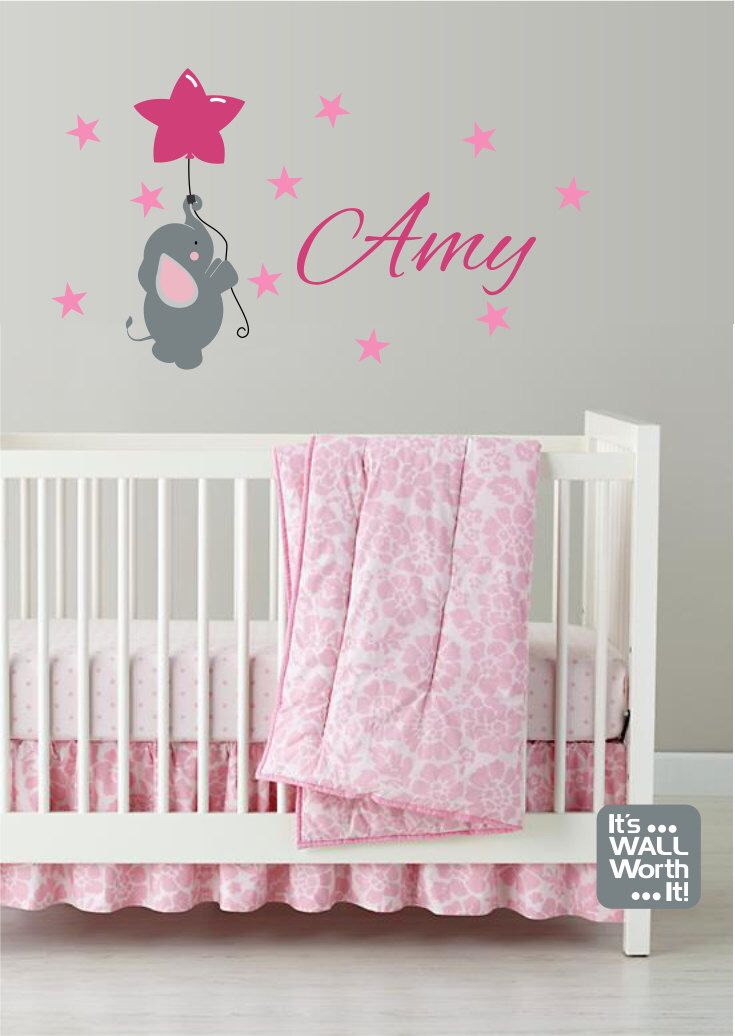 Baby Elephant with Stars and Balloon and Custom Name Vinyl Wall Decal - Nursery or Children's Room Wall Sticker by ItsWallWorthIt on Etsy https://www.etsy.com/listing/201317907/baby-elephant-with-stars-and-balloon-and