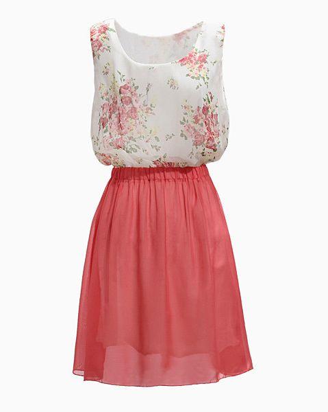Melon Red Sleeveless Floral Pattern Chiffon Dress - Sheinside.com