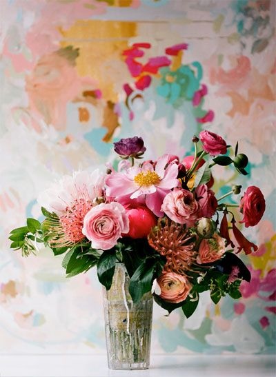 <3 the colors and different textures of this flower arrangement  #peony, #ranunculus, #protea