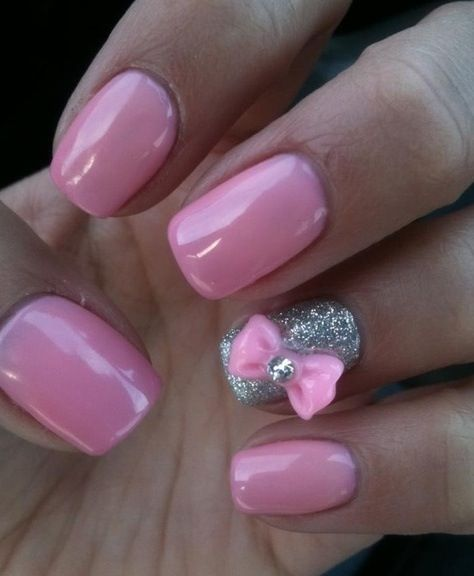 Pink nails with silver accent and 3-D nail art