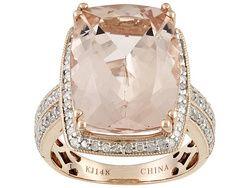Cor-de-rosa Morganite (Tm) 9.30ct With .38ctw White Diamond 14k Rose Gold Ring