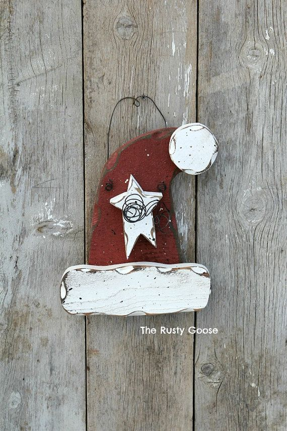 Santa Hat, Santa Decor, Primitive Santa Hat, Rustic Santa Hat, Christmas Door Hanger, Winter Holiday Decor, Santa Door Hanger    Santa hat is made