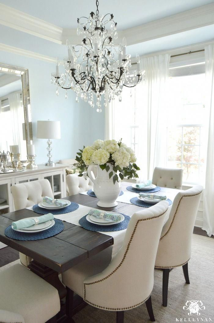 White Hydrangea Arrangement In Formal Dining Room With Crystal Chandelier Homedecorideas Mirror Dining Room Dining Room Updates Dining Room Table Decor