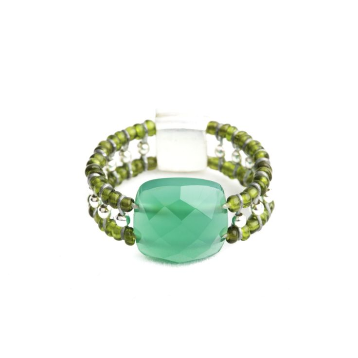 Anello da donna Ziio in argento con perle, vetro di murano e onice verde. Misura 16 La linea ideale per chi ama farsi notare. Autenticità Ufficiale Ziio