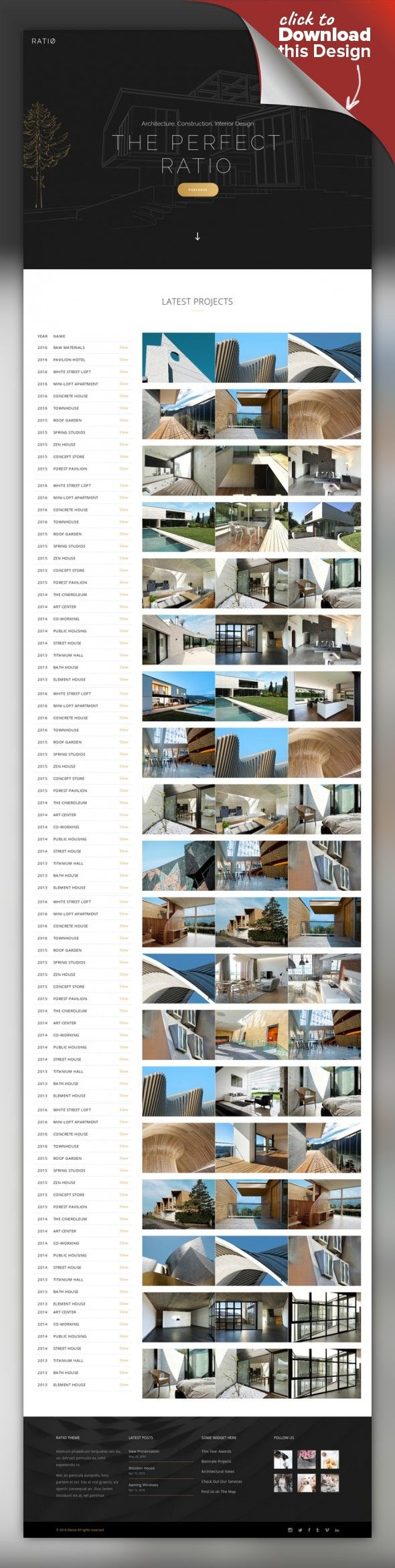 Ratio – A Powerful Theme for Architecture, Construction, and Interior Design agency, architect, builder, building, business, clean, contractor, engineer, exterior, interior, modern, portfolio, projects, showcase, studio Theme Features Easy-to-Use Powerful Admin Interface One-click import of demo site Loads of home and inner pages Custom shortcodes Large collection of customizable layouts for portfolio lists Portfolio Standard list Portfolio ...