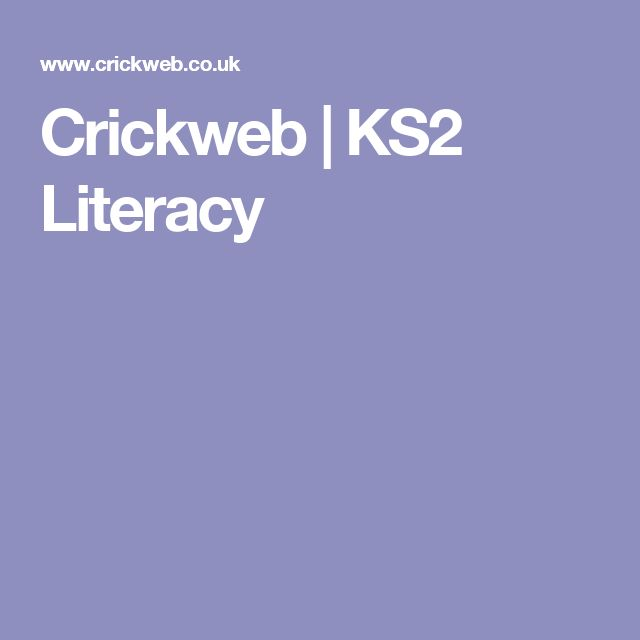 Crickweb | KS2 Literacy