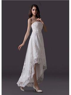 Beautiful Strapless Asymmetry Appliques Wedding Dress