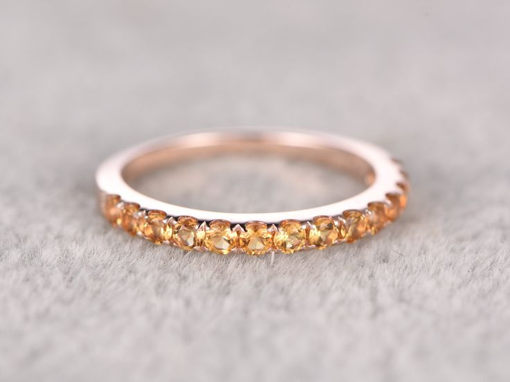 Trending Half eternity Citrine Wedding Band Solid K Rose gold Anniversary Ring Engagement stacking