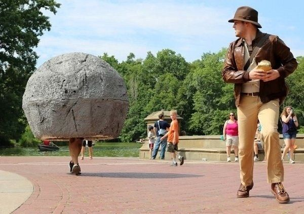 """Awesome Indiana Jones cosplay. That kid in the background, doing a double-take like """"Whaaaat?"""""""