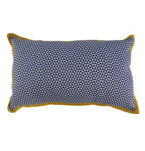 Housse de coussin motif marine ruban moutarde Bakker