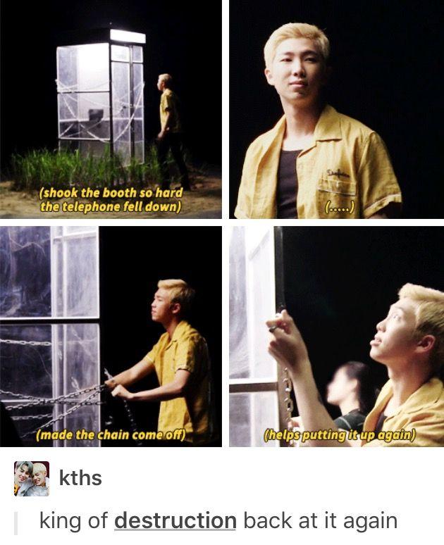 Kim Namjoon/Rap Monster/King of Destruction of BTS :D behind the scenes of 'Reflection' teaser~