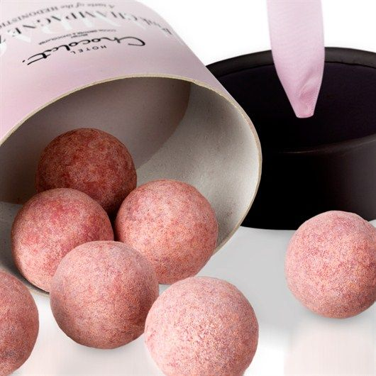 Hotel Chocolate's Luxurious truffles made with with real champagne & real strawberries - Awwww!
