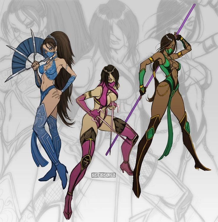 "comicsforever: ""Mortal Kombat Gals: Kitana, Millena, Jade // pencils, inks and colors by Yassir Seeso (*seeso2d, 2011) "" more comics here"