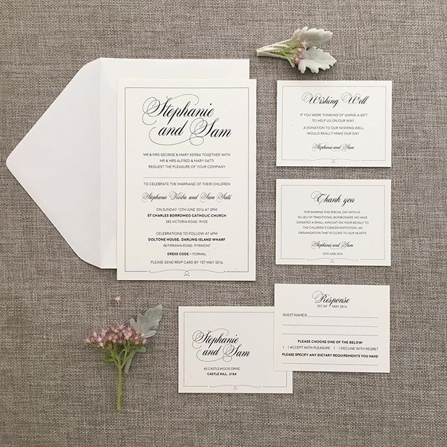 Simple yet elegant wedding package for the soon to be Mr & Mrs Stephanie & Sam  #design #simple #typography #ivorystock #weddingpackage #invitationsuite #handmadesmallbusinessau #makersofsydney