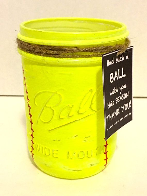 Softball Mason Jar Softball Coach Gift Hand by MonisMasonCreations