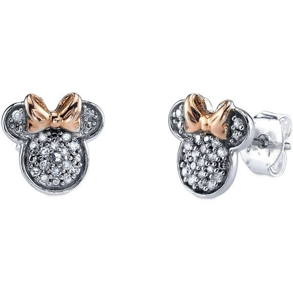 f519281adfb0 Minnie Mouse Icon Diamond Earrings ( 137) ❤ liked on Polyvore featuring  jewelry