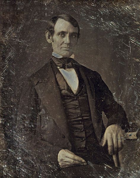 The first authenticated image of Abraham Lincoln was this daguerreotype of him as U.S. Congressman-elect in 1846, attributed to Nicholas H. Shepard of Springfield, Illinois - Wikipedia