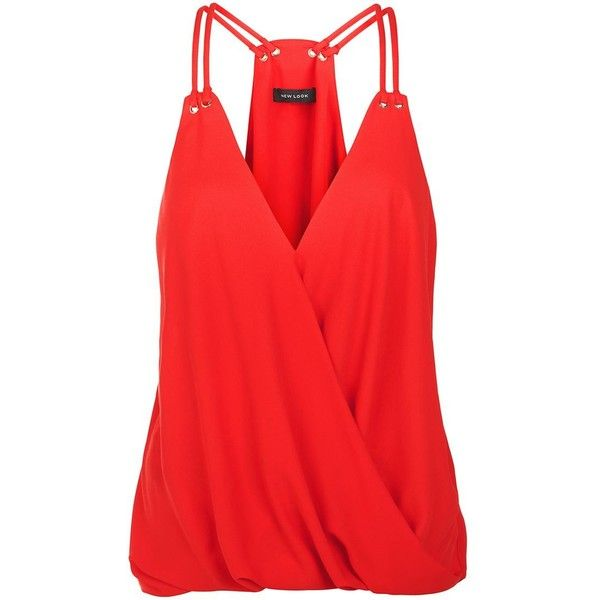 Red V Neck Eyelet Wrap Cami featuring polyvore women's fashion clothing tops tank tops tanks shirts red cami tank camisole tank top gold tank top v-neck shirt gold shirt
