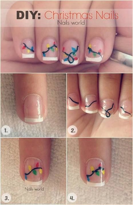 String of Lights / 15 Holiday Manicures That Are Actually Easy (via BuzzFeed)