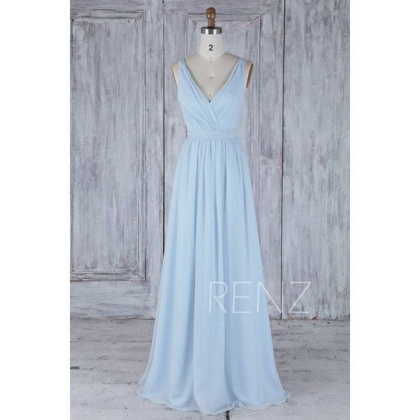 2017 Light Blue Chiffon Bridesmaid Dress With Belt, Double Straps... (340 BRL) ❤ liked on Polyvore featuring dresses, gowns, blue bridesmaid dresses, prom ball gowns, blue ball gown, prom dresses and bridesmaid dresses