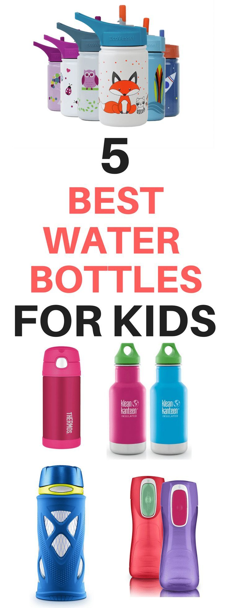 While you are thinking of ways to pack all the school lunch ideas you can think of, don't forget to find a good water bottle for kids, too. We've gathered the best kids water bottles in one place so you'll know the best water bottles to keep drinks cold or hot for lunch time. #BackToSchool #SchoolLunch #Back2School