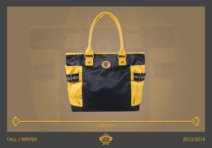 """Orobianco Gryda It's a beautiful casual bag from our 2013 Men's Fall Collection. The """"pied de poule"""" is micro and in matching grey shades. Gryda is full of yellow details, such as the handles and the lateral pockets, enriched by a grey ribbon closure."""