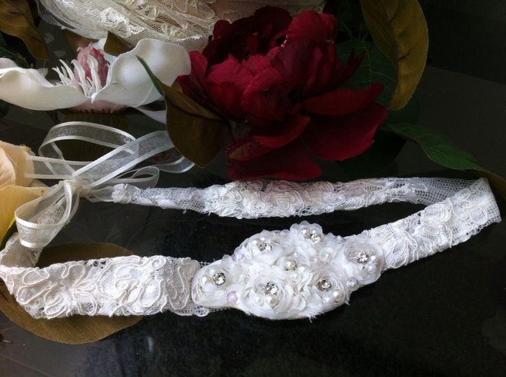 Ivory lace headband with adjustable ties. www.margotarderndesigns.com