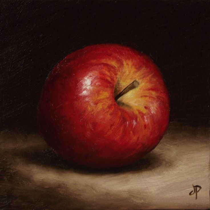 Braeburn Apple, J Palmer Daily painting Original oil still life Art. The background is very dark so this emphasises the apple more.  The colours used to create this art work are very well blended and contrasted