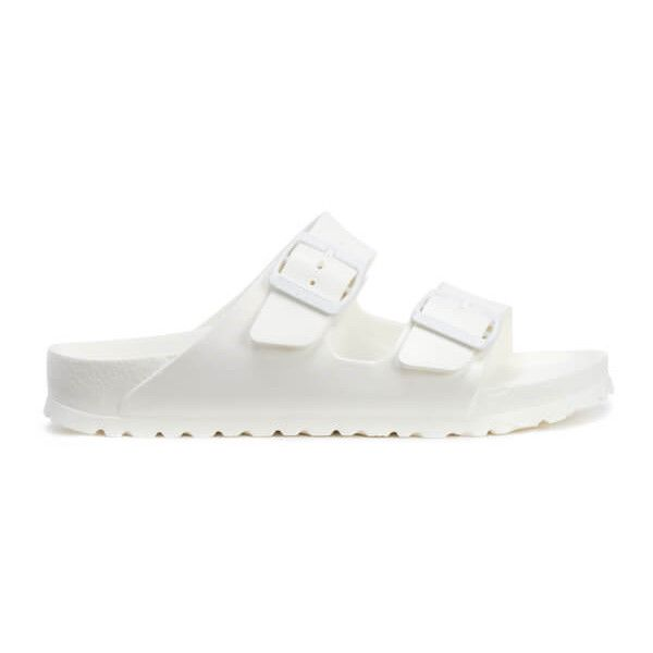Birkenstock Women's Arizona Slim Fit EVA Double Strap Sandals - White ($35) ❤ liked on Polyvore featuring shoes, sandals, white, birkenstock sandals, white strap sandals, double strap sandals, white shoes and strappy flat sandals