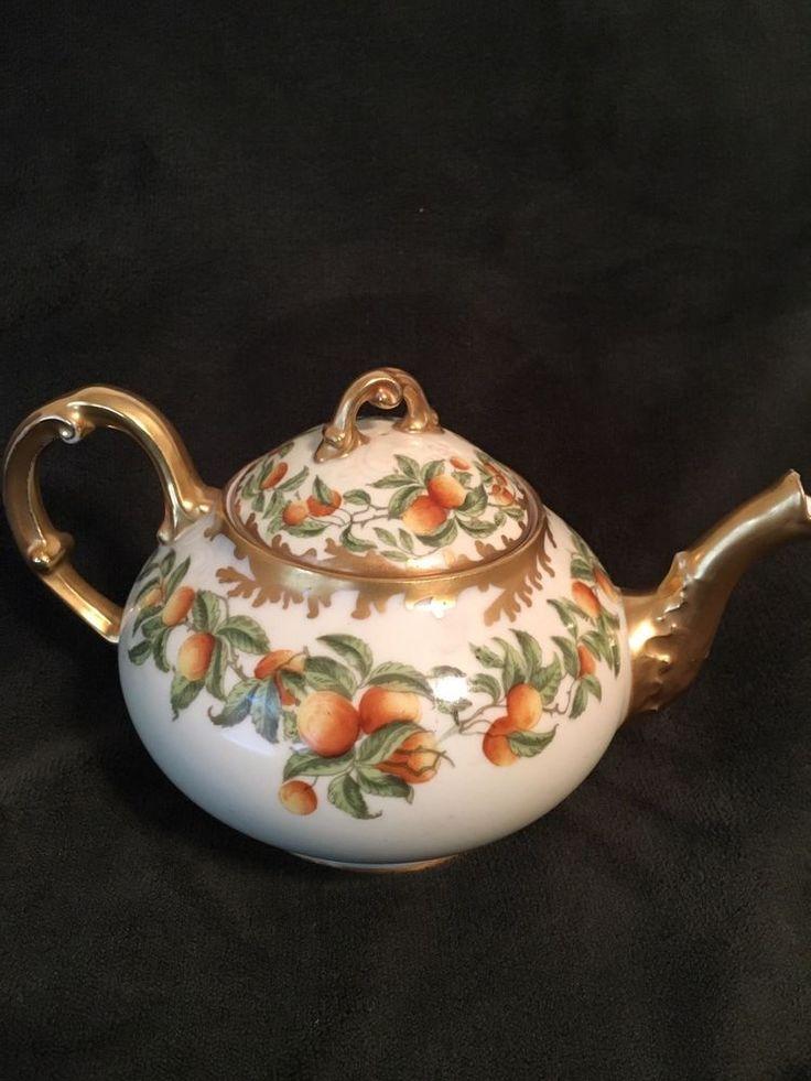 Antique Teapot- Orange And Gold- Elite Works- France