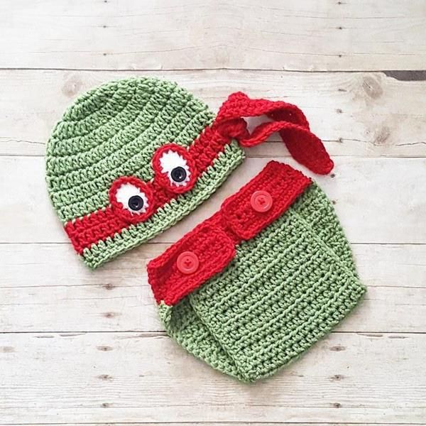 Crochet Baby Ninja Turtle Hat Beanie Diaper Cover Set Newborn Infant Handmade Photography Photo Prop Baby Shower Gift Available from Newborn to 24 Months and in