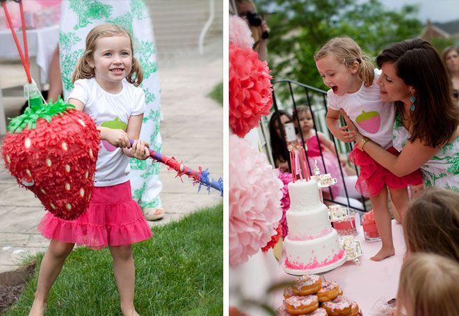 Strawberry Shortcake Party: Shortcake Birthday, Bday Ideas, Birthday Parties Ideas, Parties Kids Party'S Ideas, Strawberries Pinata, Parties Kids Parties Ideas, Shortcake Parties, Strawberries Shortcake, Birthday Ideas