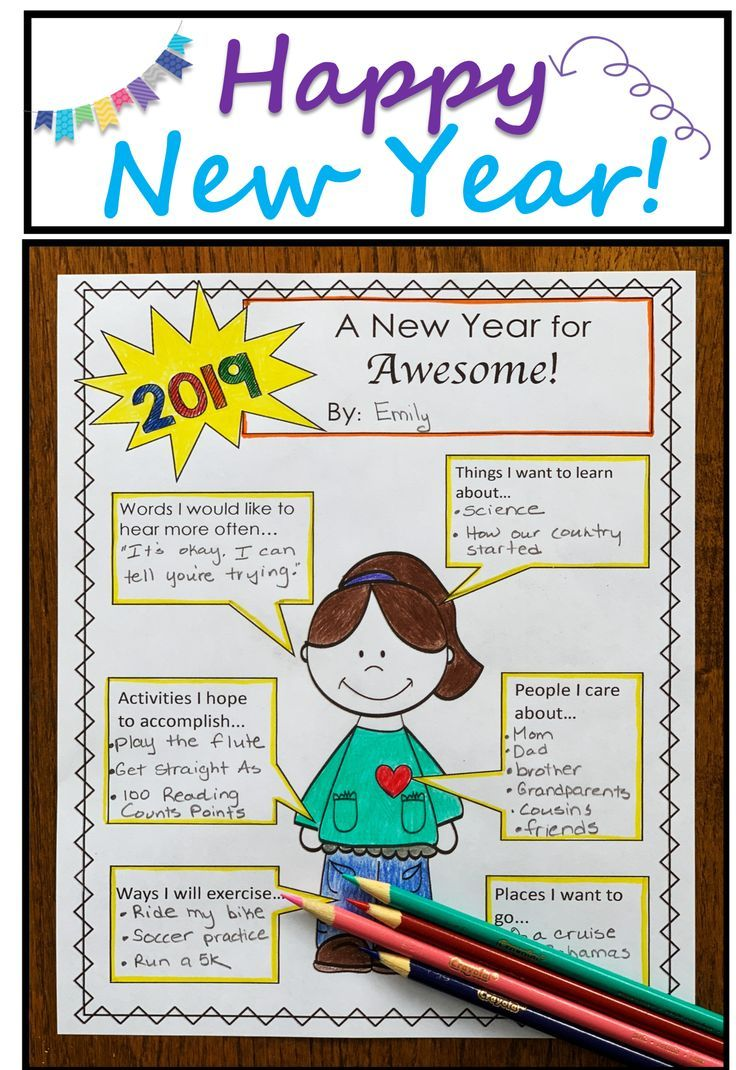 Kids love sharing their New Years goals and resolutions. This resource is a  great way to welcome…   New years activities [ 1070 x 736 Pixel ]