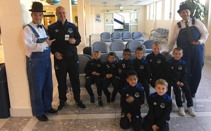 Laurel and Hardy Lookalikes at the Isle of Man Airport with Everton Football Club's boy's team and a one of their Coaches. They were playing football at The King George V Bowl Stadium in Douglas, Isle of Man