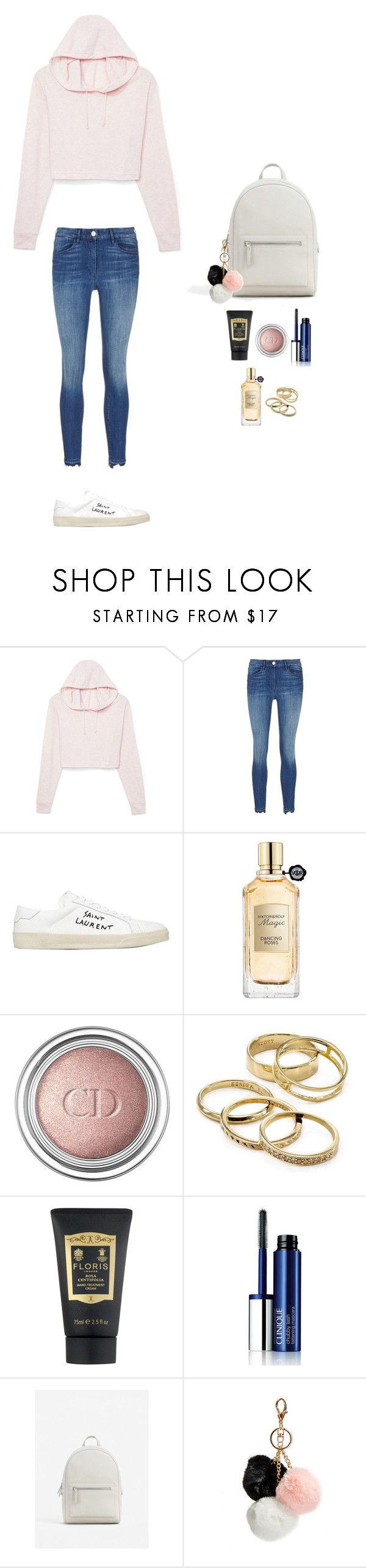 """Style #186"" by maksimchuk-vika ❤ liked on Polyvore featuring 3x1, Yves Saint Laurent, Viktor & Rolf, Christian Dior, Kendra Scott, Floris, Clinique, MANGO and GUESS"