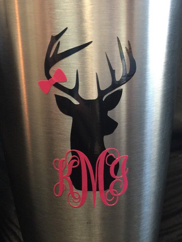 Deer head monogram decal for yeti cup tumbler coffee mug wine glass