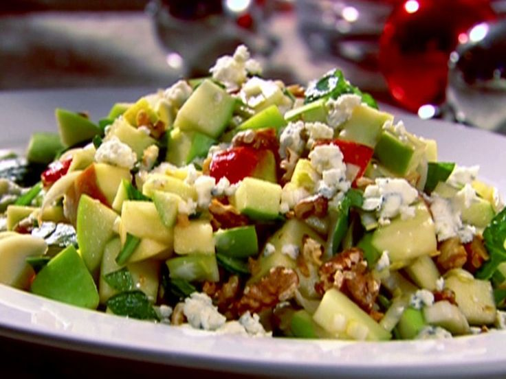 Chopped Apple Salad with Toasted Walnuts, Blue Cheese and Pomegranate Vinaigrette recipe from Bobby Flay via Food Network