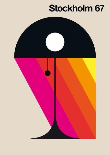 'STOCKHOLM 67' GICLEE ART PRINT BY BO LUNBERG'#modern #print #Scandi #70s #Stockholm #design #graphic_design