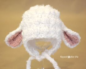 Crochet Lamb Hat, oh my so cute! Think I will have to learn how to crochet and make this sometime!